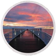 Lake Huron Pier Round Beach Towel