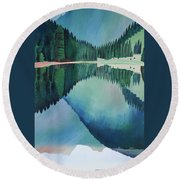 Lake In Austria Round Beach Towel