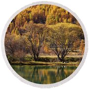 Lake In Autumn - 3 - French Alps Round Beach Towel