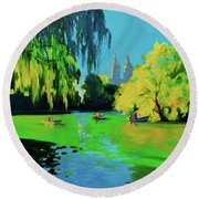 Lake In Central Park Ny Round Beach Towel
