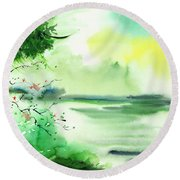 Lake In Clouds Round Beach Towel