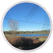Lake In Lakeside Round Beach Towel