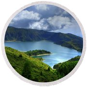 Lake In The Azores Round Beach Towel