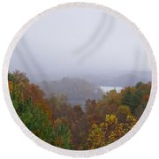 Lake In The Distance Round Beach Towel