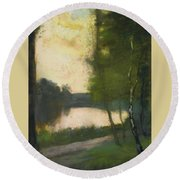 Lake In The Evening Round Beach Towel
