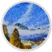 Lake In The Middle Of Swiss Beauty Round Beach Towel