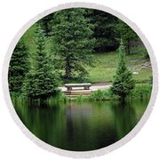 Lake Irene Dressed In Green Round Beach Towel