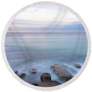 Lake La Jolla Pano Round Beach Towel