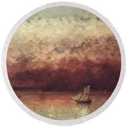 Lake Leman With Setting Sun Round Beach Towel by Gustave Courbet