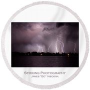Lake Lightning 2 Poster Round Beach Towel