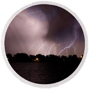 Lake Lightning 3 Round Beach Towel