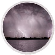 Lake Lightning Round Beach Towel
