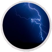 Lake Lightning Strike Round Beach Towel
