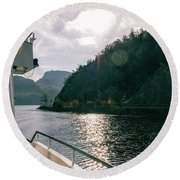 Lake Lucerne From A Boat  Round Beach Towel