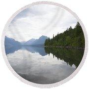 Lake Macdonald Reflection Round Beach Towel