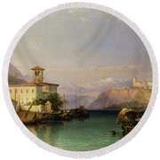 Lake Maggiore Round Beach Towel by George Edwards Hering