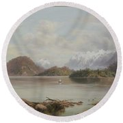 Lake Manapouri Round Beach Towel
