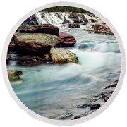 Lake Mcdonald Falls, Glacier National Park, Montana Round Beach Towel