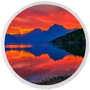 Lake Mcdonald Fiery Sunrise Round Beach Towel