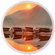 Lake Mcdonald Fiery Sunset Round Beach Towel