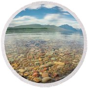 Lake Mcdonald In Glacier National Park At Sunset Round Beach Towel