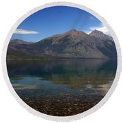 Lake Mcdonald Reflection Glacier National Park 2 Round Beach Towel