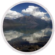 Lake Mcdonald Reflection Glacier National Park Round Beach Towel