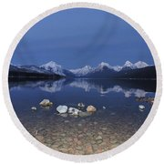 Lake Mcdonald Rocks Round Beach Towel