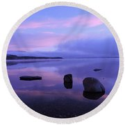 Lake Mcdonald Sunrise  Round Beach Towel