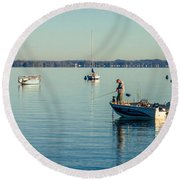 Lake Mendota Fishing Round Beach Towel