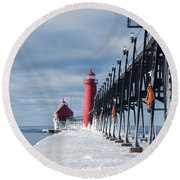 Lake Michigan Ice Round Beach Towel