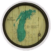 Lake Michigan Map Round Beach Towel