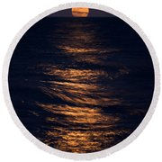 Lake Michigan Moonrise Round Beach Towel