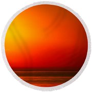 Lake Michigan Sunset Abstract Round Beach Towel