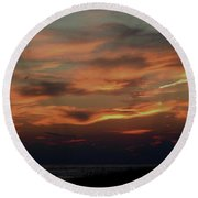 Lake Michigan Sunset Photograph Round Beach Towel