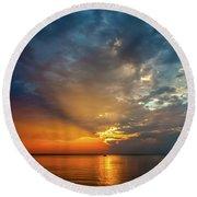 Lake Michigan Sunset Round Beach Towel