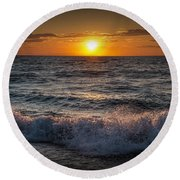 Lake Michigan Sunset With Crashing Shore Waves Round Beach Towel