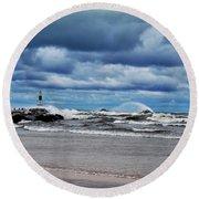 Lake Michigan With Big Wind  Round Beach Towel