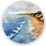 Lake Michigan With Whitecaps Ll Round Beach Towel by Michelle Calkins