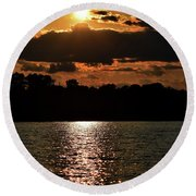 Lake Murray Golden Hour Round Beach Towel