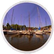 Lake Murray S C Marina Round Beach Towel