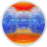 Lake Of Many Colors  Round Beach Towel
