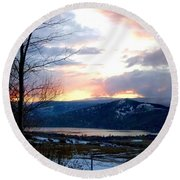 Lake Okanagan Sunset At Vernon Round Beach Towel