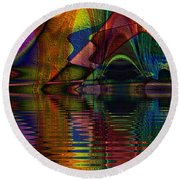 Lake Opalescence Round Beach Towel