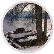 Lake Pend D'oreille At Humbird Ruins 1 Round Beach Towel