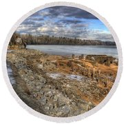 Lake Pend D'oreille At Humbird Ruins 2 Round Beach Towel