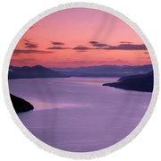 Lake Pend Oreille Sunset Round Beach Towel