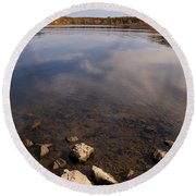 Lake Pomme De Terre In October Round Beach Towel
