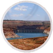 Lake Powell And Glen Canyon Dam Round Beach Towel