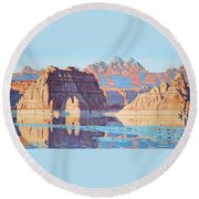 Lake Powell From Shore  Round Beach Towel